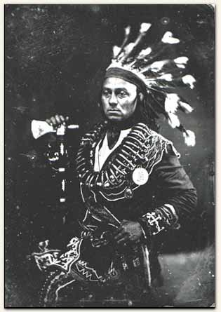 In the 1840s, Mississauga chief Maun-gua-daus, also known as George Henry, had his picture taken in Toronto.