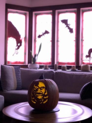 """Garth's pumpkins""""Creature from black lagoon and werewolf"""""""
